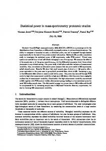 Statistical power in mass-spectrometry proteomic ...