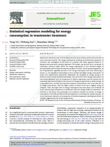 Statistical regression modeling for energy consumption in wastewater ...