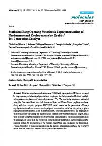 Statistical Ring Opening Metathesis Copolymerization of ... - MDPI