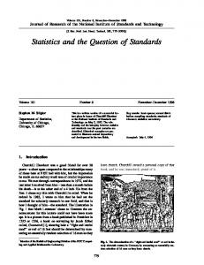 Statistics and the Question of Standards - NIST Page - National ...