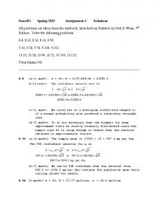 Stats151 Spring 2012 Assignment 3 Solutions All problems are ...