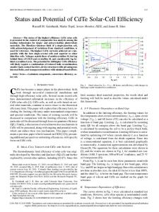 Status and Potential of CdTe Solar-Cell Efficiency - IEEE Xplore