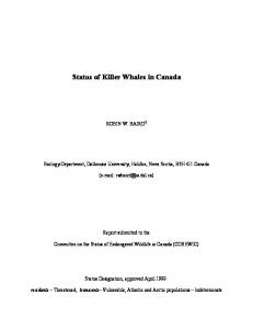 Status of Killer Whales in Canada - Cascadia Research