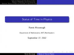 Status of Time in Physics - MIT Mathematics
