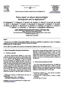 Status report on silicon photomultiplier development and its applications