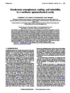 Steady-state entanglement, cooling, and tristability in ... - OSA Publishing
