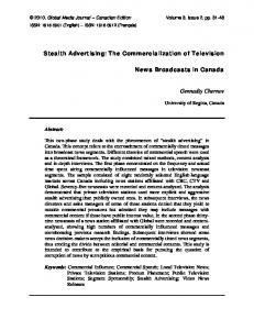 Stealth Advertising: The Commercialization of Television News ...