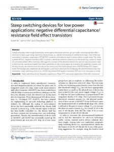Steep switching devices for low power applications