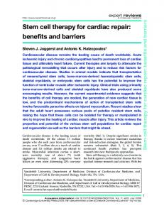Stem cell therapy for cardiac repair: benefits and