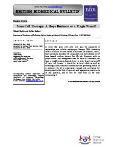 Stem Cell Therapy - iMedpub