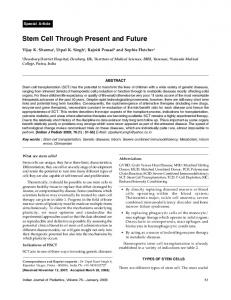 Stem Cell Through Present and Future - medIND