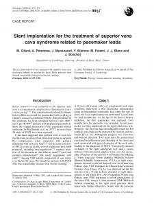 Stent implantation for the treatment of superior