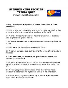 STEPHEN KING STORIES TRIVIA QUIZ - Trivia Champ