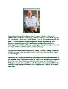 Stephen Russell Payne is a fourth-generation Vermonter. A lifelong ...