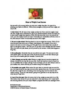 Steps to Weight-Loss Success - Rutgers: School of Health Related ...