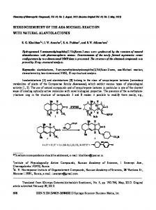 stereochemistry of the aza-michael reaction with ... - Springer Link
