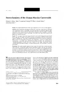 Stereochemistry of the Human Macular Carotenoids