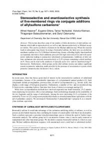 Stereoselective and enantioselective synthesis of ... - Semantic Scholar