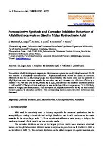 Stereoselective Synthesis and Corrosion Inhibition Behaviour of