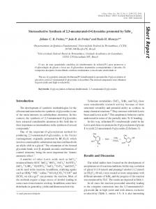 Stereoselective synthesis of 2, 3-unsaturated-O-Glycosides promoted ...
