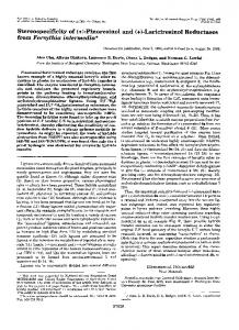 Stereospecificity of (+)-Pinoresin01 and (+)-Lariciresinol Reductases ...