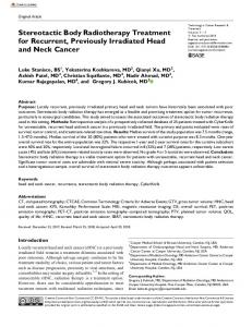 Stereotactic Body Radiotherapy Treatment for ... - SAGE Journals