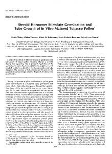 Steroid Hormones Stimulate Germination and Tube Growth of ... - NCBI