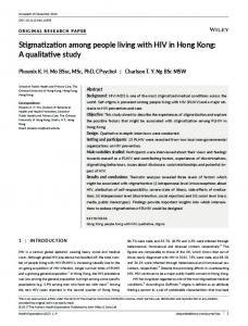 Stigmatization among people living with HIV in ... - Wiley Online Library