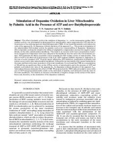 Stimulation of Dopamine Oxidation in Liver Mitochondria by Palmitic