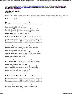 Sting - Fields of Gold - Free Guitar Chords, Tablature (Tabs)... - Gorts