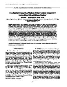 Stochastic Forecasting Models of the Monthly Streamflow for the Blue ...