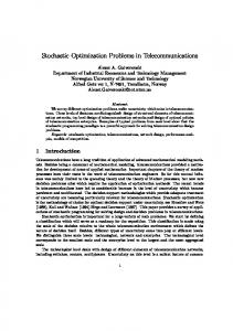 Stochastic Optimization Problems in Telecommunications - CiteSeerX
