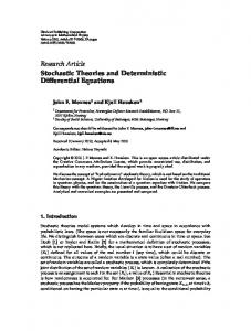 Stochastic Theories and Deterministic Differential