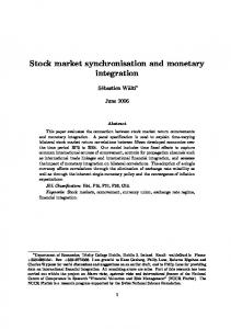 Stock market synchronisation and monetary integration