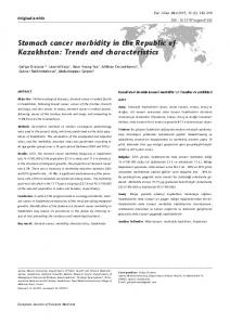 Stomach cancer morbidity in the Republic of Kazakhstan: Trends and ...