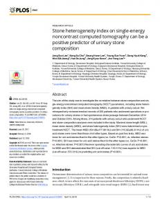 Stone heterogeneity index on single-energy noncontrast ... - PLOS