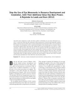 Stop the Use of Eye Movements in Resource Development and ...