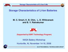 Storage Characteristics of Li-Ion Batteries - NASA Battery Workshop