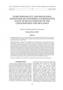 store personality and behavioral intentions of customers