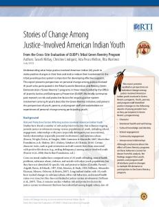Stories of Change Among Justice-Involved American Indian Youth