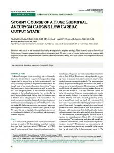 Stormy Course of a Huge Submitral Aneurysm ... - Semantic Scholar