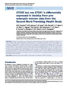 STOX2 but not STOX1 is differentially expressed in ... - Semantic Scholar