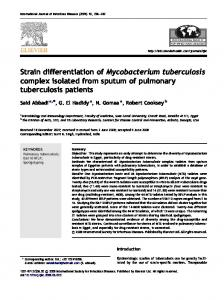 Strain differentiation of Mycobacterium tuberculosis complex isolated ...