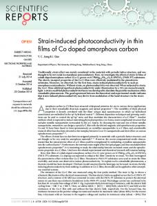 Strain-induced photoconductivity in thin films of Co doped amorphous