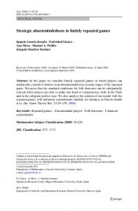 Strategic absentmindedness in finitely repeated games - Springer Link