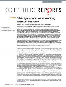 Strategic allocation of working memory resource - Center for Neural