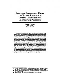 strategic annexation under the voting rights act - Harvard Law School