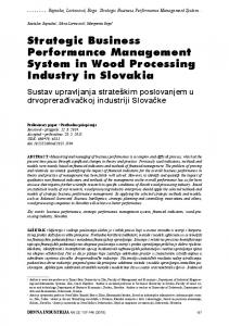 Strategic Business Performance Management System in Wood ...