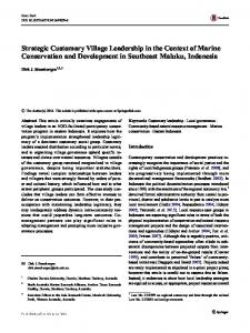 Strategic Customary Village Leadership in the Context of Marine ...