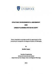 strategic environmental assessment and urban planning system in egypt